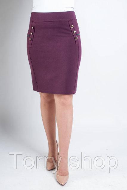 Короткая офисная юбка бордового цвета