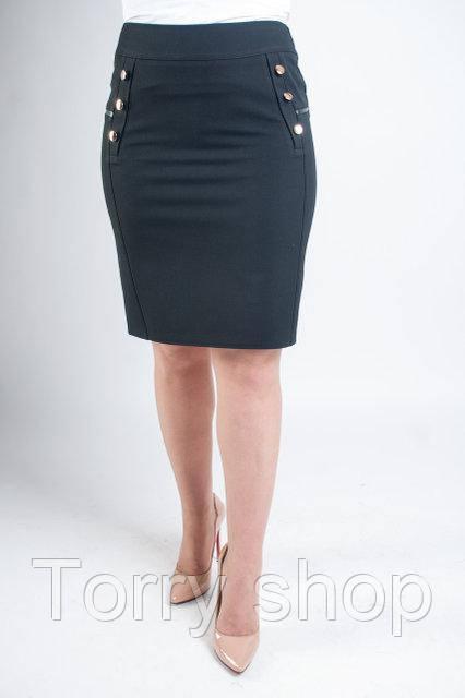 Короткая офисная юбка черного цвета