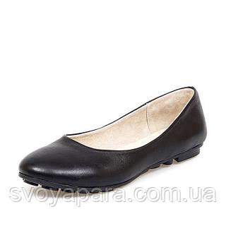 Балетки женские кожаные чёрного цвета на термопластичной подошве