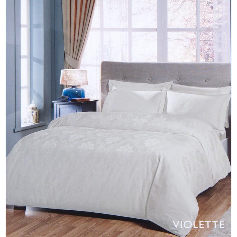 Постельное белье Tac жаккард - Violette молочный евро