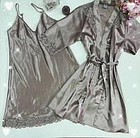 Комплект женский атласный халат и сорочка  Jasmin цвет капучино