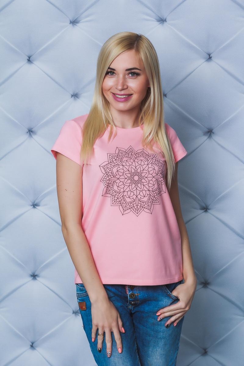 Женская футболка с печатью персик