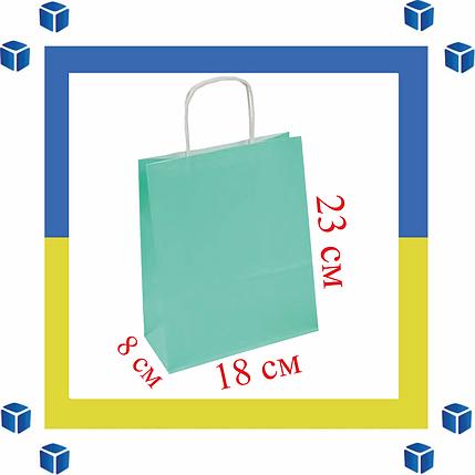Бумажный пакет мятный с витыми ручками (180мм/80мм/225мм), фото 2
