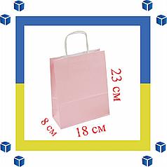 Бумажный пакет розовый с витыми ручками (180мм/80мм/225мм)