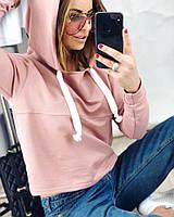Женское худи свободного кроя  с копюшоном, в расцветках. АВ-4-0518, фото 1