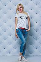Женская футболка с печатью белая, фото 1