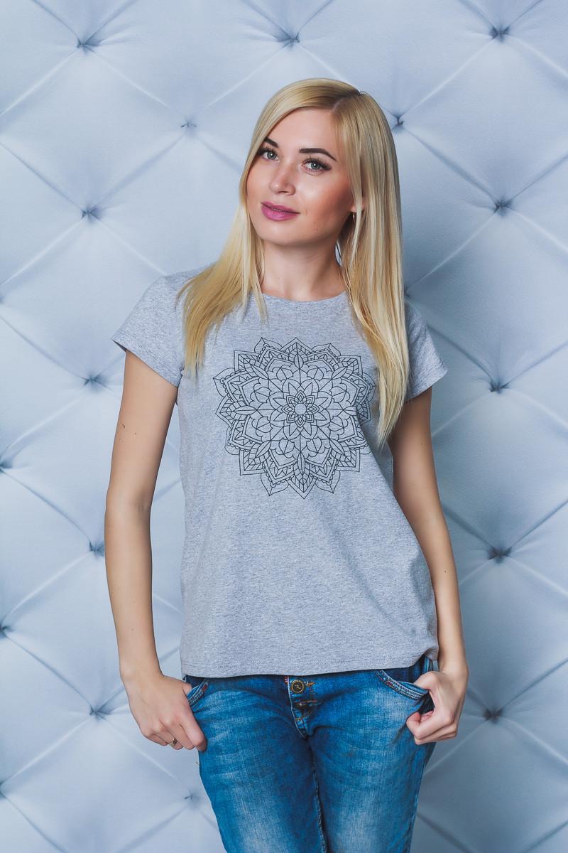Женская футболка с печатью меланж