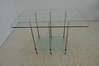 """Стол журнальный стеклянный на хромированных ножках Maxi  LT DX2 1200/400 (25) """"прозрачный"""" стекло, хром, фото 1"""