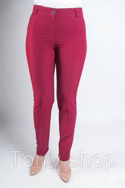 Женские классические брюки с зауженной штаниной, бордового цвета