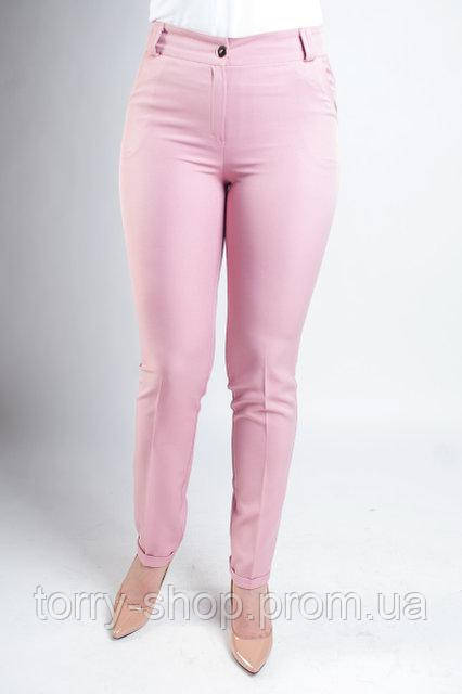 Женские классические брюки с зауженной штаниной, пудрового цвета