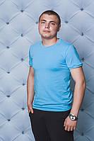Мужская однотонная футболка голубая