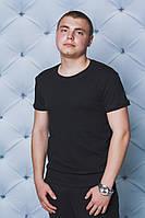 Мужская однотонная футболка черная
