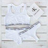 Женский комплект тройка с слипами Calvin Klein белый