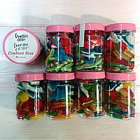 Баночки со сладостями сладкий подарок: Доза Сладкого желешки, маршмеллоу