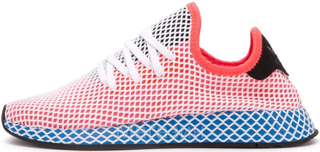 "Мужские кроссовки adidas Deerupt Runner ""Solar Bird"" Red/Blue (в стиле Адидас) розовые"