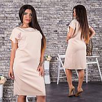 Прямое платье из креп-костюмки с аппликацией роза батал