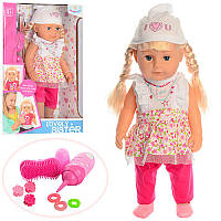 Кукла WZJ015-1 42 см, бутылочка (звук), щетка, резиночка, заколочка, пьет-плачет