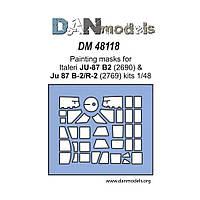 МАСКА ДЛЯ МОДЕЛИ САМОЛЕТА JU-87 B-2 / JU-87 D-2/R-2 (ITALERI). 1/48 DANMODELS DM48118