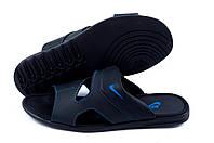 Мужские кожаные  летние шлепанцы-сланцы Nike Classic (реплика)