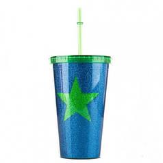 Стакан с крышкой и трубочкой Green star