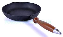 Сковорода низкая Ситон чугунная с деревянной ручкой 28 см