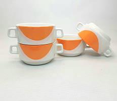 Набор чашек для бульона с двумя ручками, 320 мл. капля оранжевая в уп.6 шт.