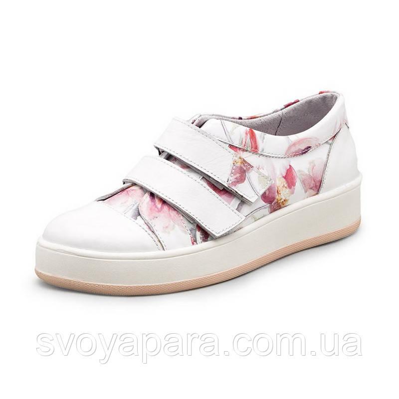 Кроссовки женские белого цвета с цветочным принтом из натуральной кожи с липучками