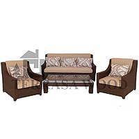 Комплект мебели из ротанга для отдыха Бордо Люкс из VIP ротанга (5 человек) шоколад