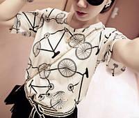 Велофутболка (Футболка с велосипедным принтом) Женская (free size), фото 1