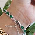 Серебряный браслет с зеленым кварцем - Женский серебряный родированный браслет с камнями, фото 4
