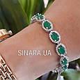 Серебряный браслет с зеленым кварцем - Женский серебряный родированный браслет с камнями, фото 3