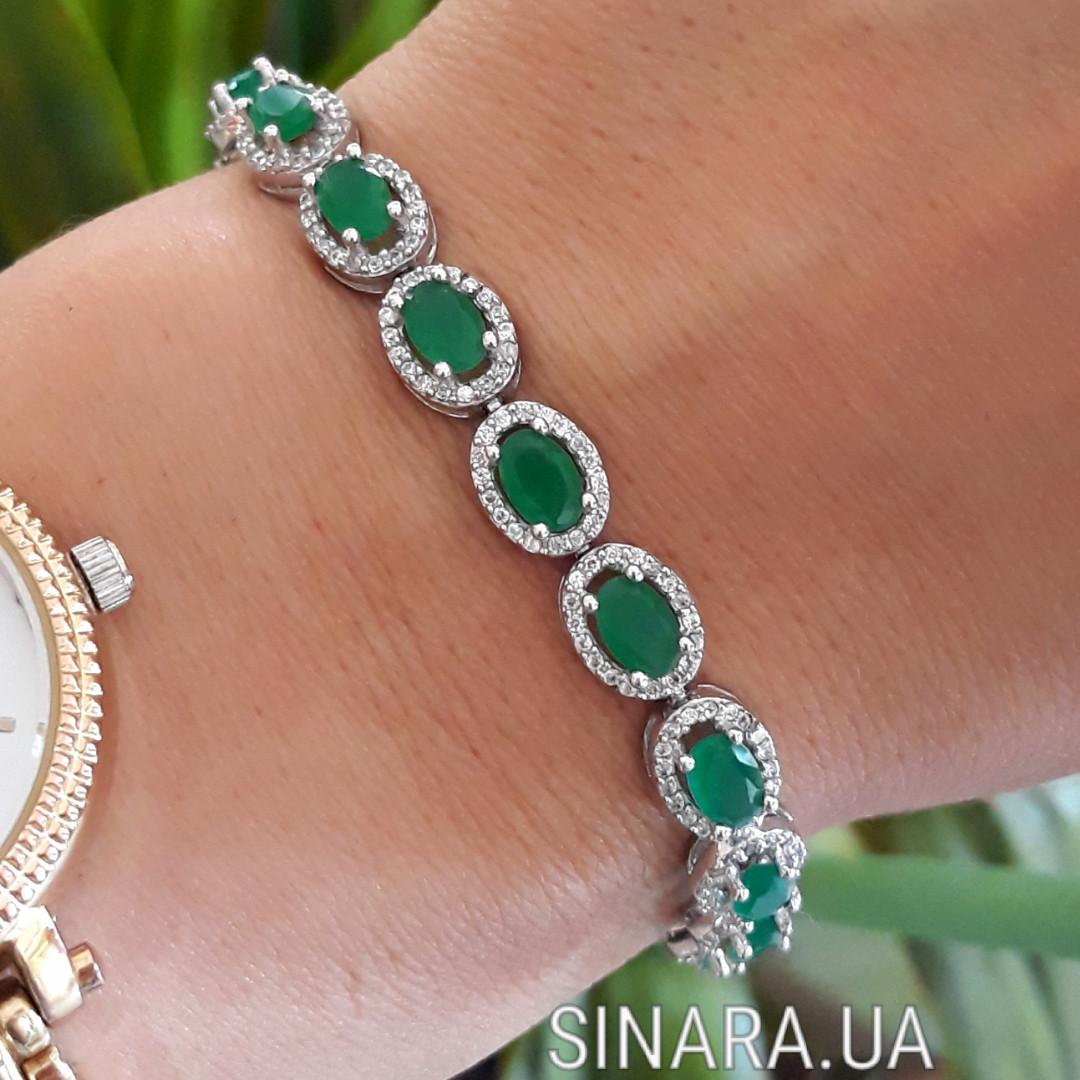 Серебряный браслет с зеленым кварцем - Женский серебряный родированный браслет с камнями