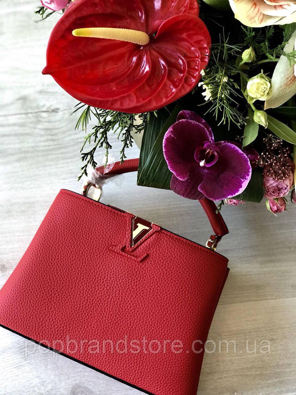 b25ea16fdc1f Модная женская сумка LOUIS VUITTON CAPUCINES 27 см натуральная кожа  (реплика)