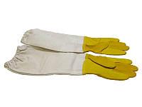 """Перчатки кожаные желтые,""""BEE Land"""" с нарукавниками (Хлопок), Германия, фото 1"""
