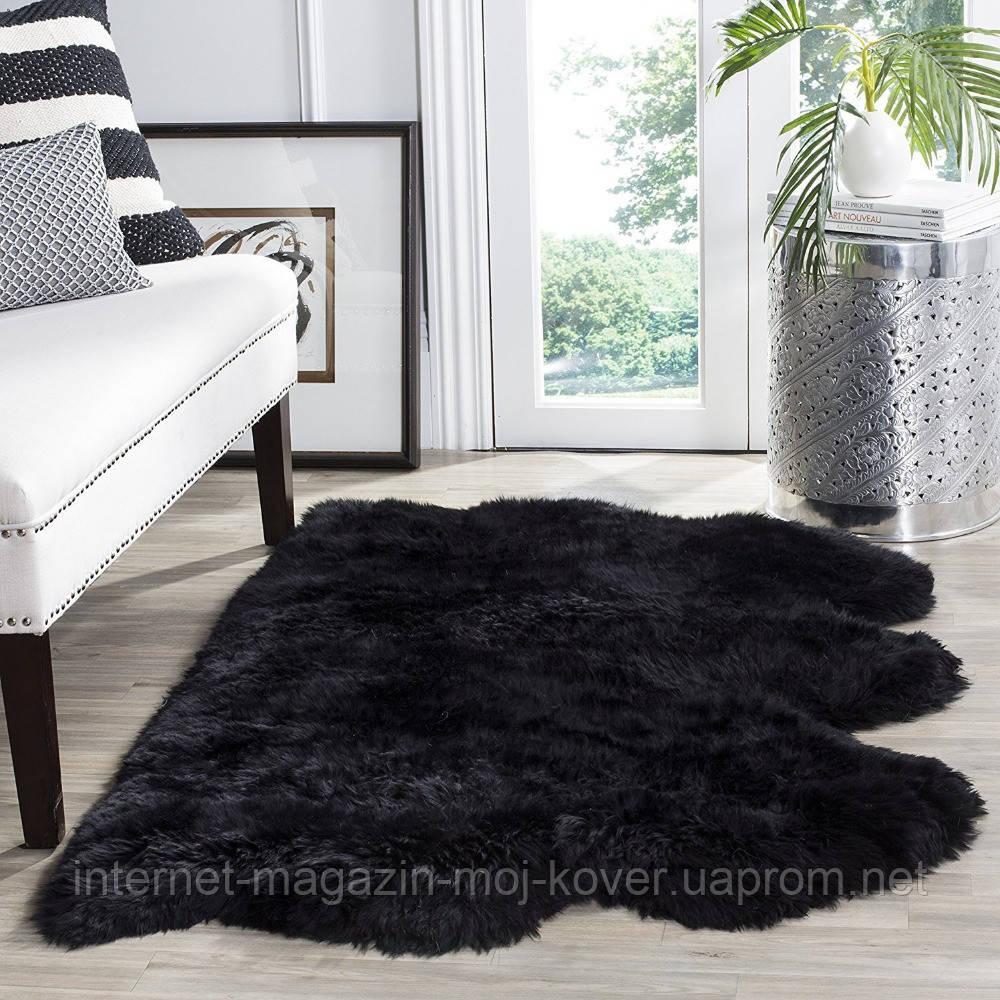 Тройной ковер черного цвета из овчины мериноса