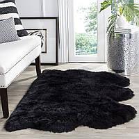 Тройной ковер черного цвета из овчины мериноса , фото 1