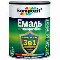 """Эмаль антикорозийная 3 в 1""""Кompozit"""" черный 0,75кг"""