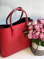 Модная женская сумка PRADA cuir double bag красная (реплика), фото 1