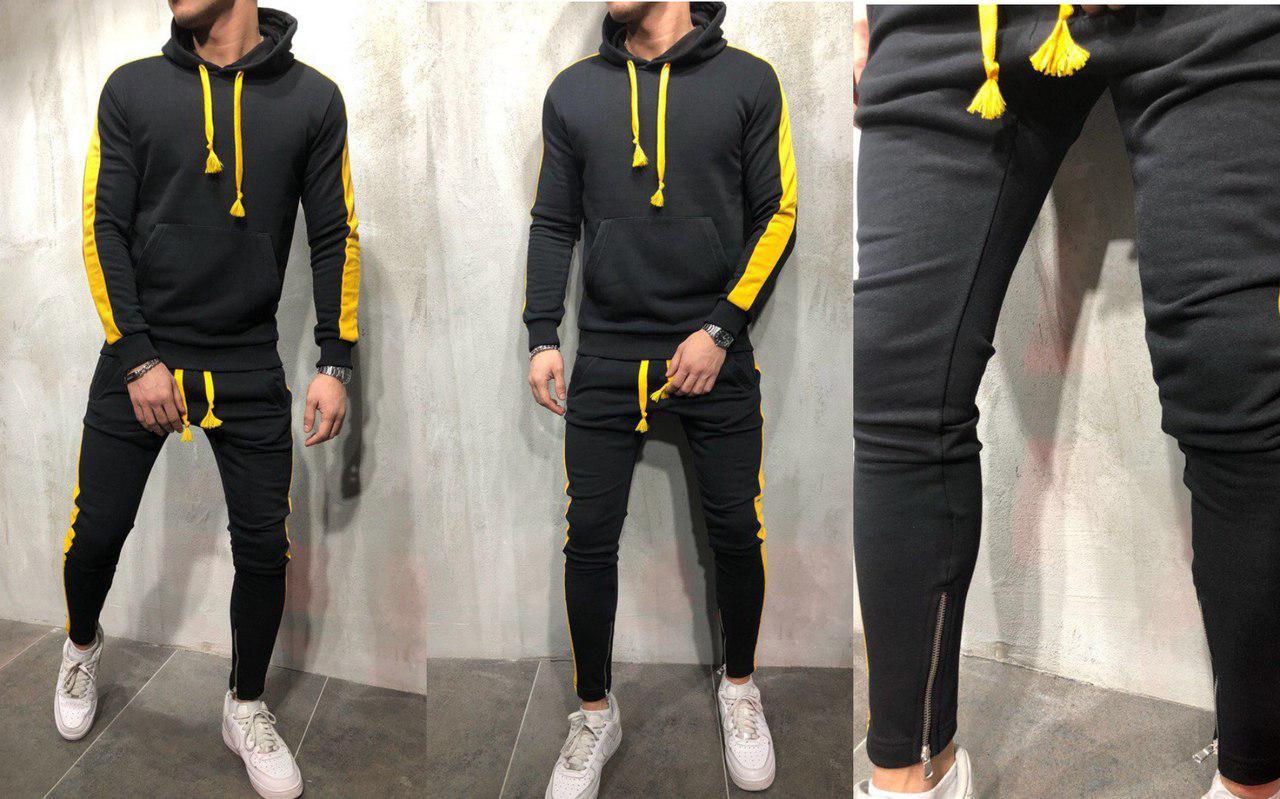 d7f0565159a8 Мужской спортивный костюм с зауженными штанами на змейках внизу, графит с  желтыми ...