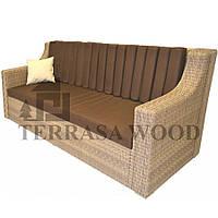 Плетенный диван из ротанга Бордо Люкс из VIP ротанга (3-х местный) беж