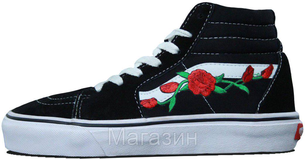 Женские высокие кеды Vans Sk8-Hi Mid Roses (Ванс) черные с розами