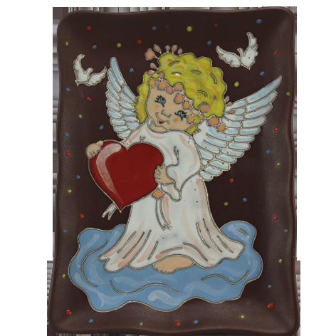 """Тарелка прямоугольная """"Ангелочек с сердцем"""""""