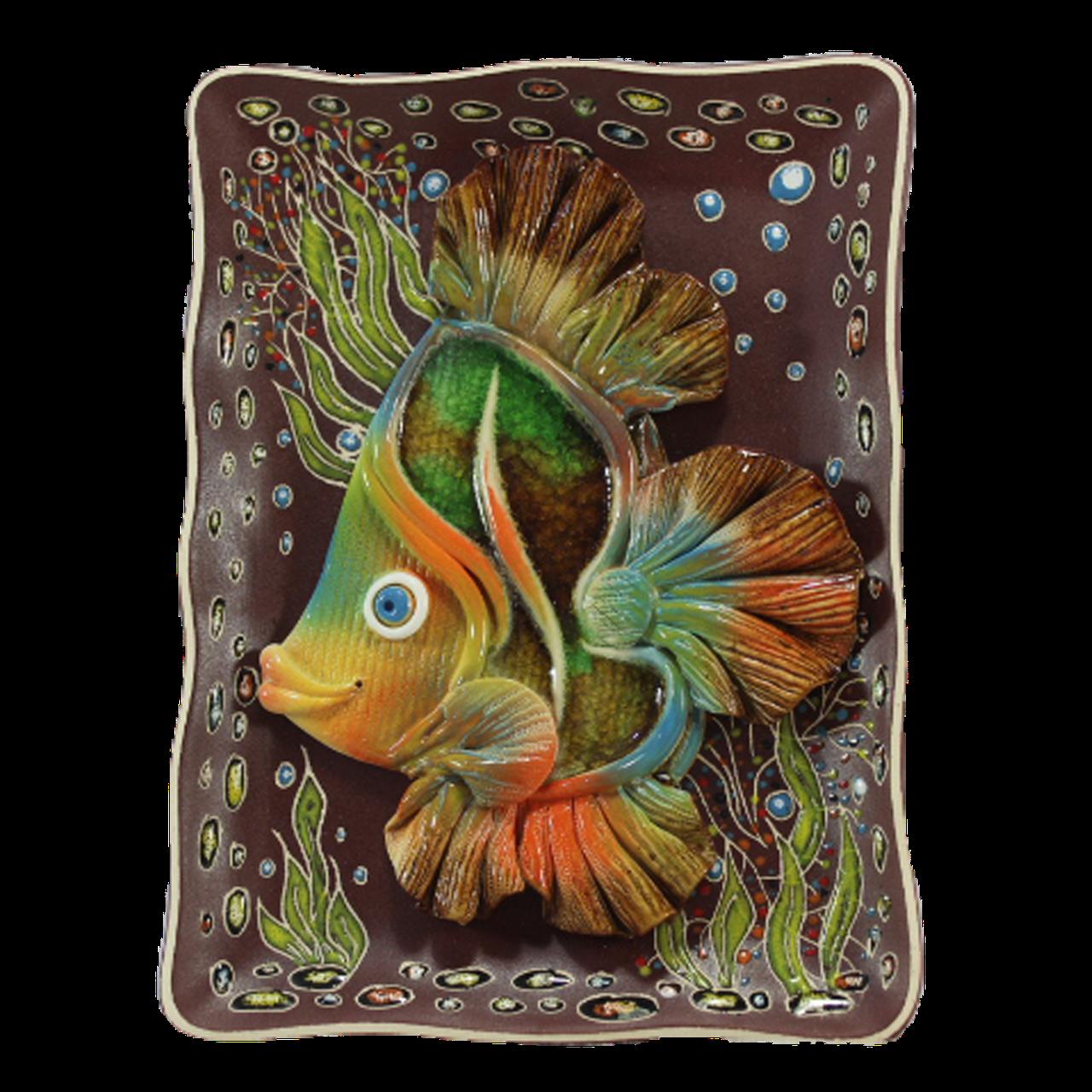 Тарелка прямоугольная «Рыбка лепная»