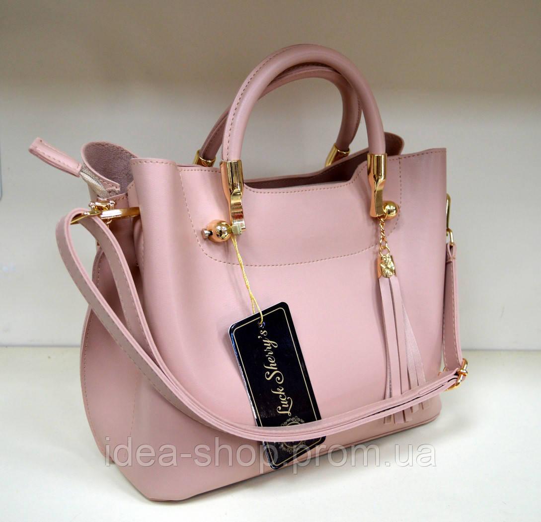 Сумка шоппер розового цвета на лето