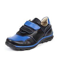Кроссовки подростковые из натуральной кожи чёрного с синим цвета на термополиэстеровой подошве