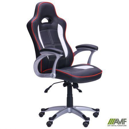 Геймерское кресло Драйв к/з PU, цвет черный/белые вставки AMF™