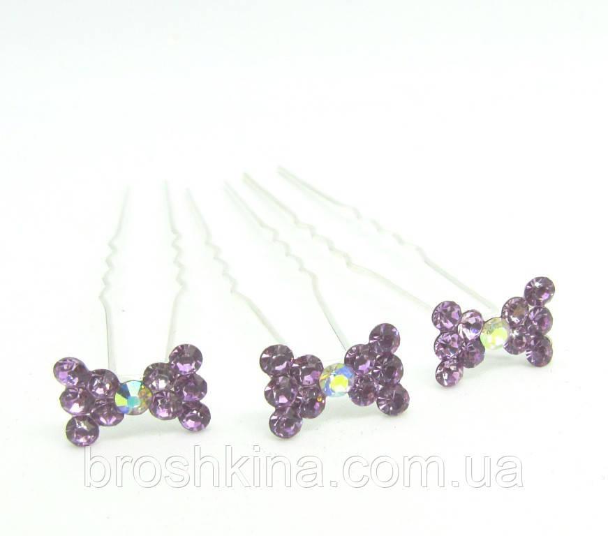Шпильки для волос бантик с сиреневыми кристаллами 20 шт/уп