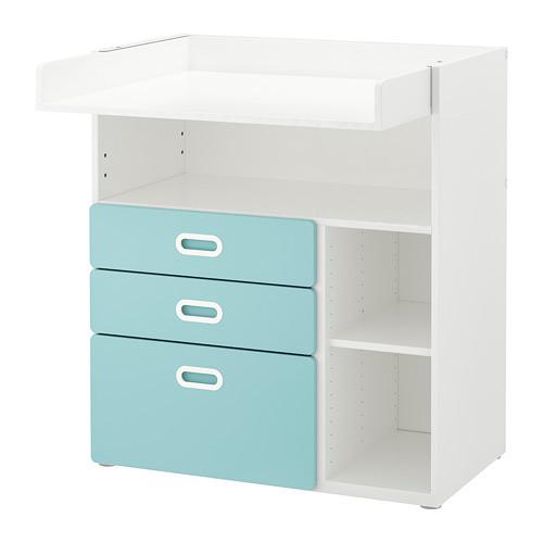 Пеленальный стол с ящиками IKEA STUVA / FRITIDS 90x79x102 см белый голубой 792.531.60