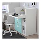Пеленальный стол с ящиками IKEA STUVA / FRITIDS 90x79x102 см белый голубой 792.531.60, фото 2