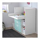Пеленальный стол с ящиками IKEA STUVA / FRITIDS 90x79x102 см белый голубой 792.531.60, фото 3